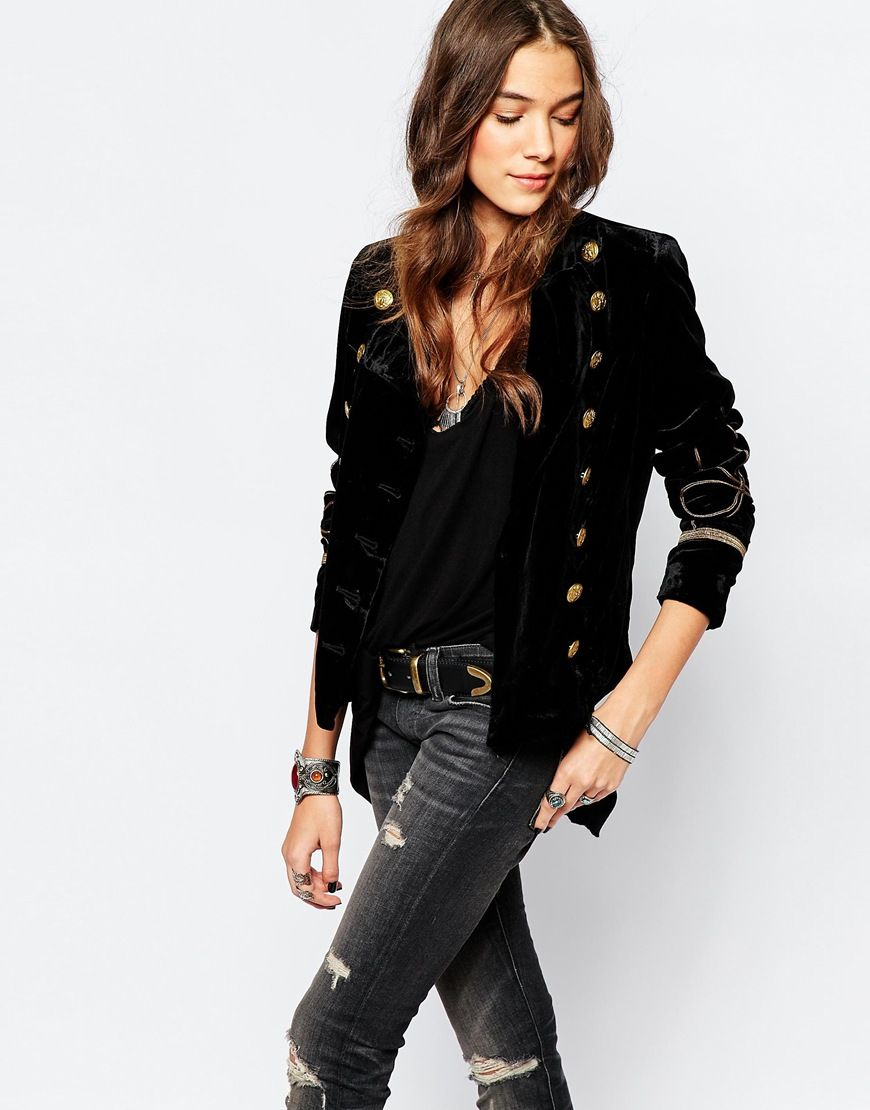 Image 1 of Denim Supply By Ralph Lauren Velvet Military Jacket