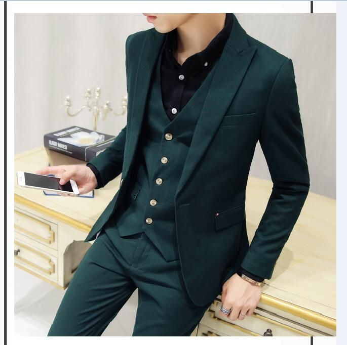 fc745bda36b 2017 Latest Coat Pant Designs Dark Green Men Suit Groom Tuxedo Slim Fit  Skinny 3 Piece Suits Custom Prom Blazer Terno Masuclino