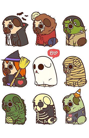 Puglie Halloween Photographic Print By Puglie Pug Dibujos De