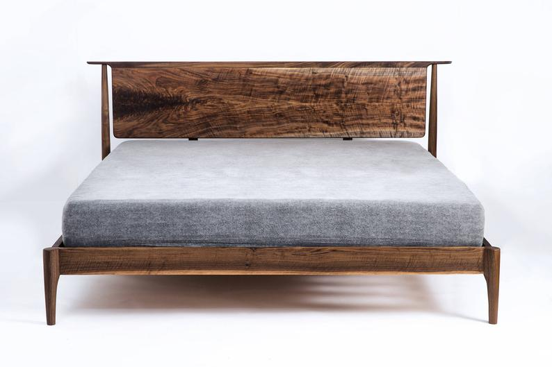 Modern Bed Walnut Bed Solid Wood Bed Platform Bed Mid Etsy Bed Frame And Headboard Modern Platform Bed Minimalist Bedroom Furniture