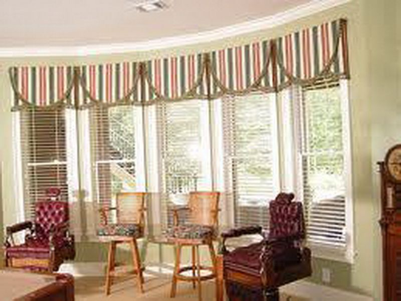 Striped window treatment valances ideas window for Ideas for bay window treatments
