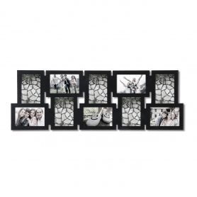 Adeco Decorative Black Wood Interlocking Wall Hanging Collage Picture Photo Frame 10 Opening Pf0537 Picture Collage Photo Frame Frame