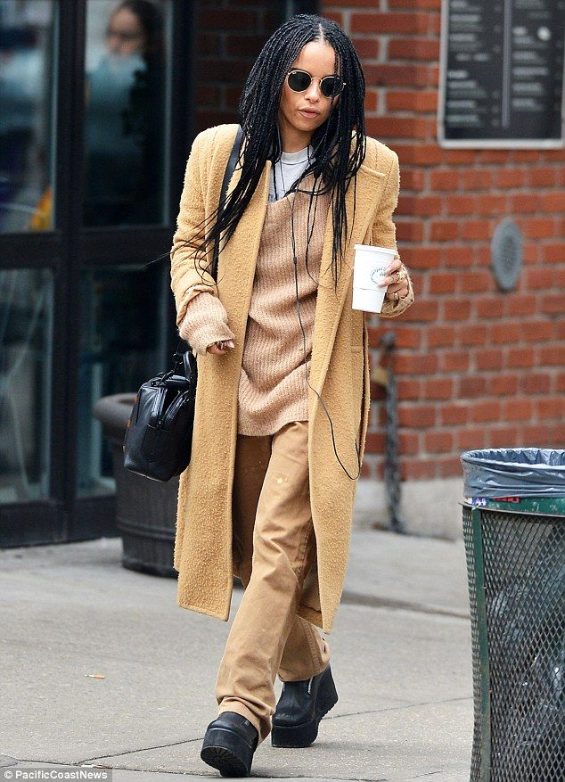 Zoe Kravitz covers up in head-to-toe mustard yellow