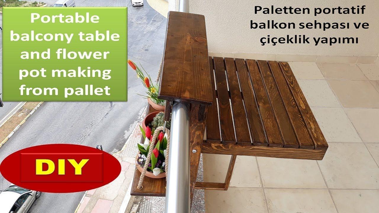 Paletten Balkon Sehpasi Ve Ciceklik Yapimi Balcony Table And Flower P Palet Balkon Urunler
