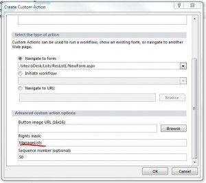 setting rights for custom actions using sharepoint designer 2010 in