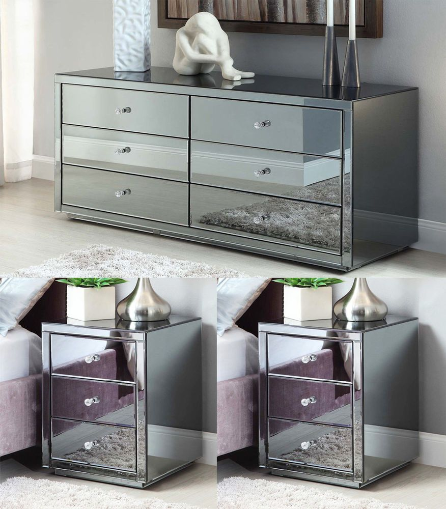 Vegas Smoke Mirrored Bedside Tables And Low Chest Package Ebay