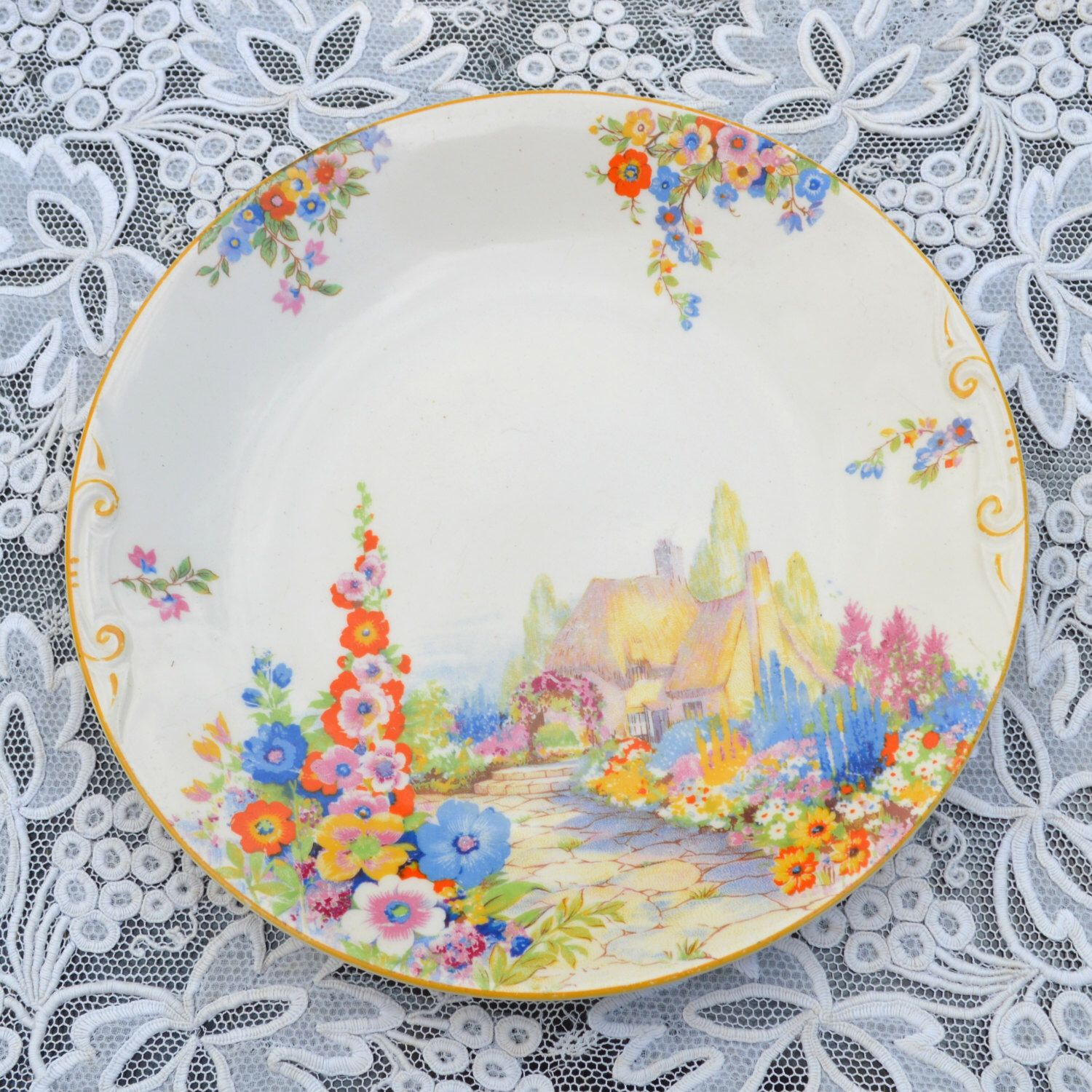 """Vintage Art Deco Hampton Ivory Old England Gardens Swinnertons Cake Sandwich Serving Plate Country Cottage and Hollyhocks 9"""" by Wicksteads on Etsy https://www.etsy.com/listing/191927095/vintage-art-deco-hampton-ivory-old"""