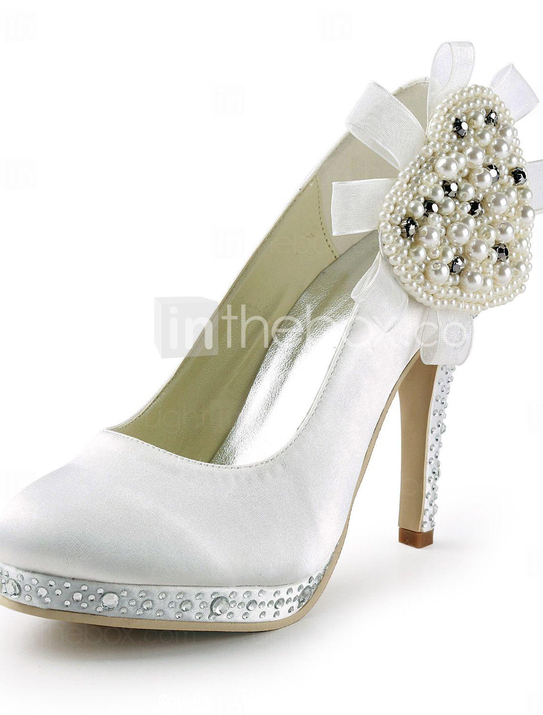cetim de salto agulha com sapatos de plataforma bombas de strass / pérola do casamento (mais cores) - R$ 184,60