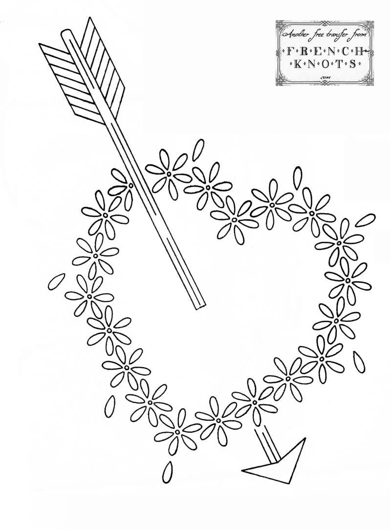 Free valentine hearts embroidery transfer pattern