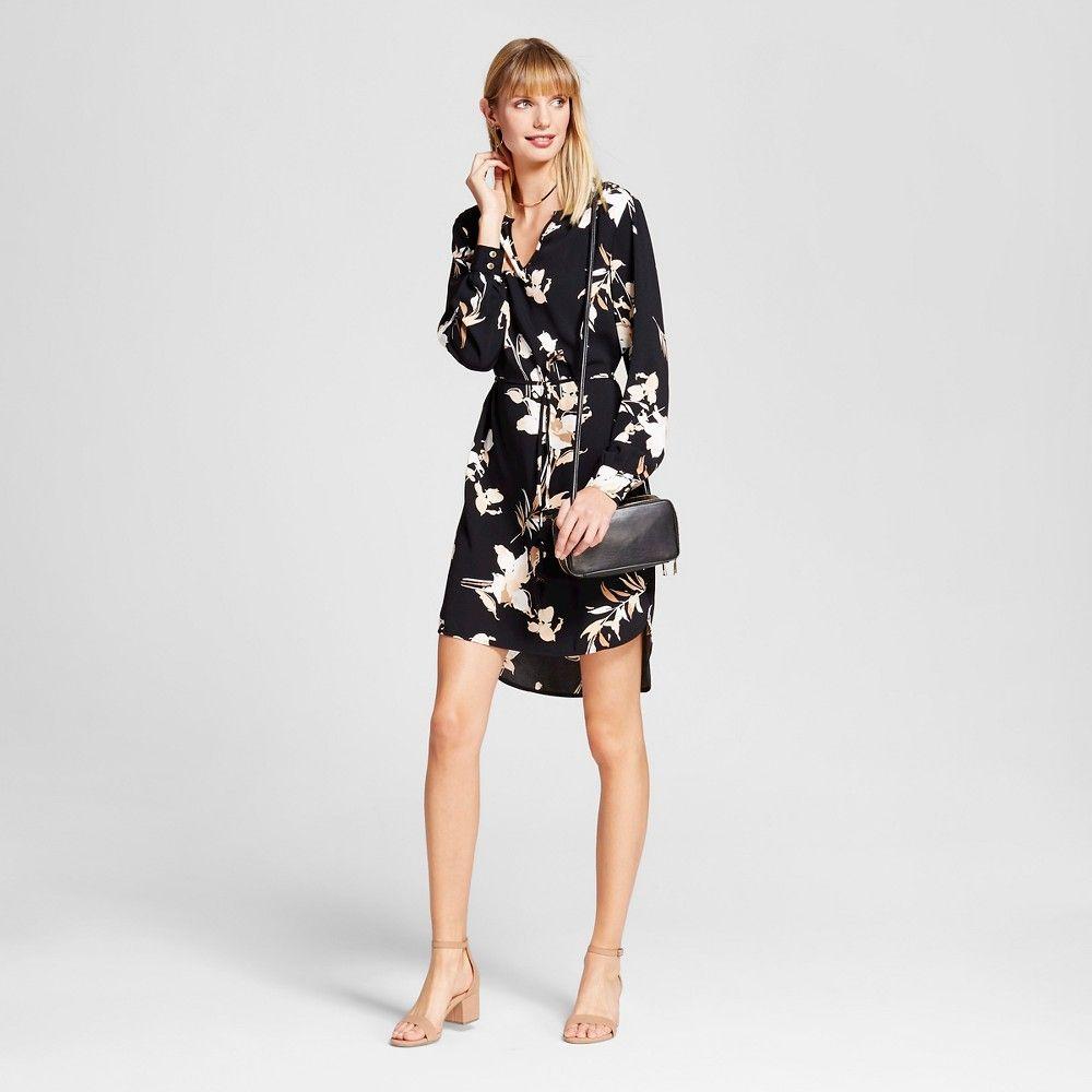 Women's Printed Crepe Tunic Dress Black Multi Xxl - Merona, Ebony ...