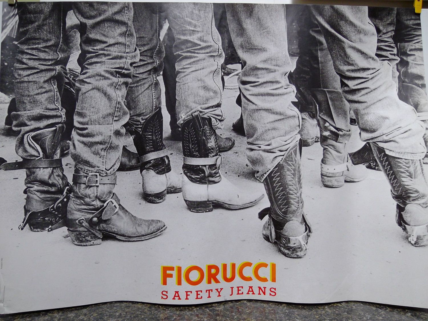 Poster design jeans - Vintage Poster Art Cowboys Boots And Safety Jeans For Fiorucci 70 00