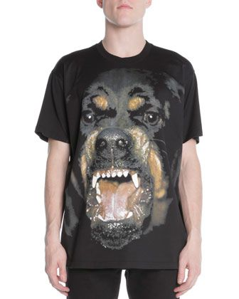 Givenchy Snarling Rottweiler Dog Jersey Tee Black Givenchy Dog
