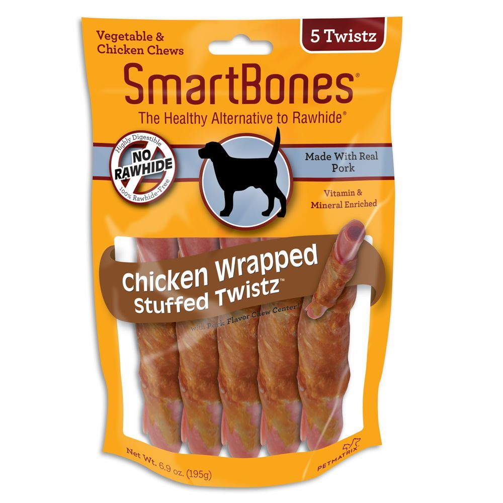 Smartbones Chicken Wrapped Stuffed Twistz With Pork Dog Treat