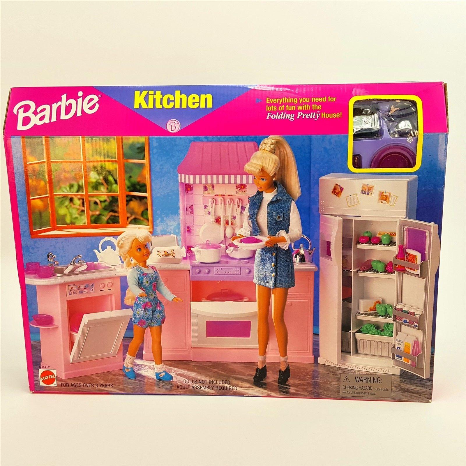 Barbie Doll Folding Pretty Kitchen 1998 Mattel Pink Playset
