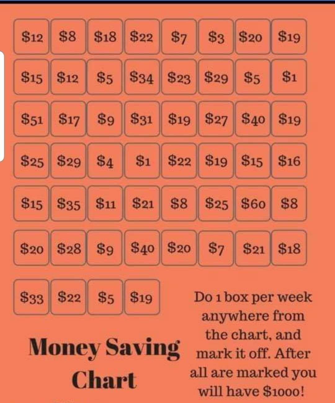 Worksheet For Money Saving Challenge