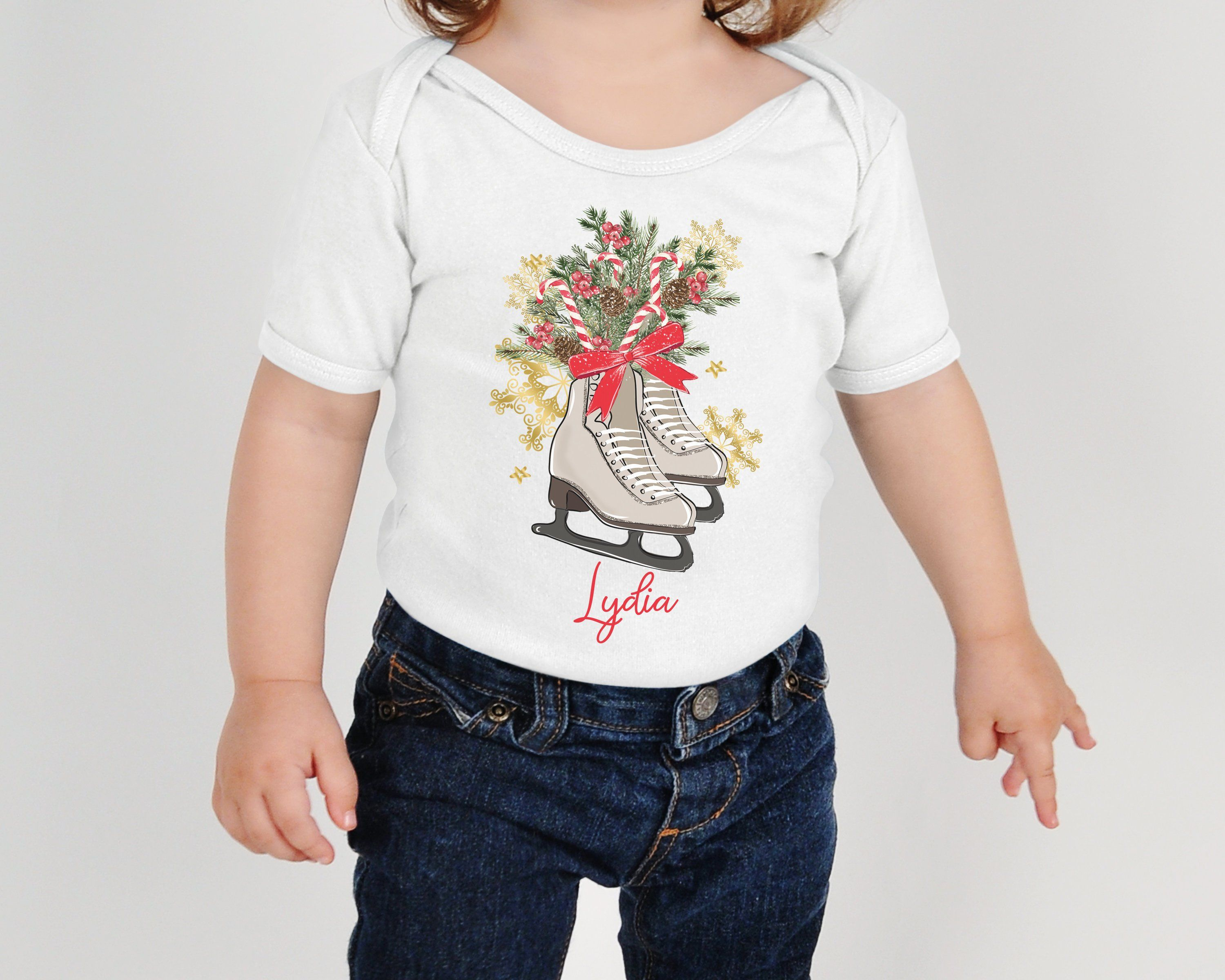 Personalized Christmas Onesies® For Girls, Ice Skates ...