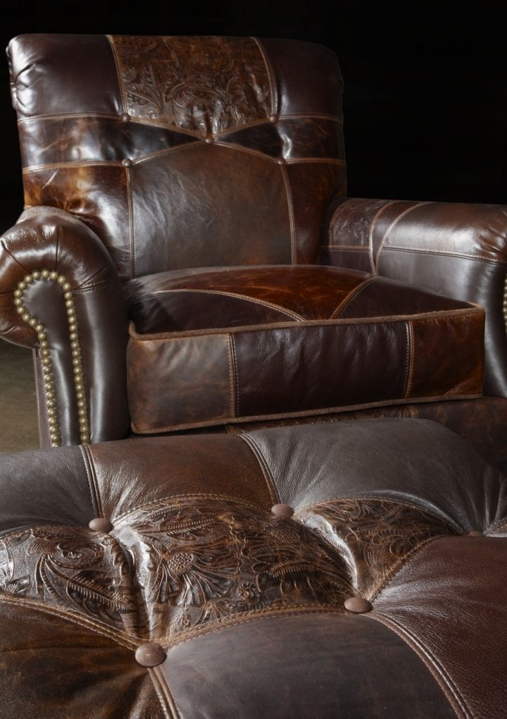 Leather patches chair and ottoman, Great looking and great