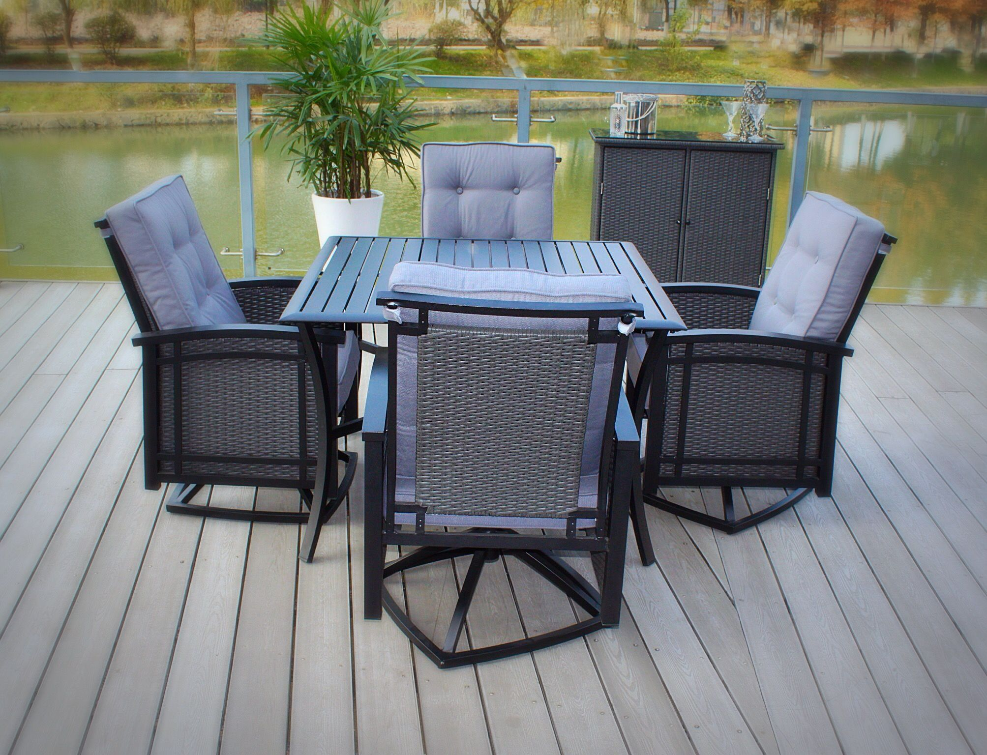 5pc palmetto aluminum wicker patio dining set with square slat
