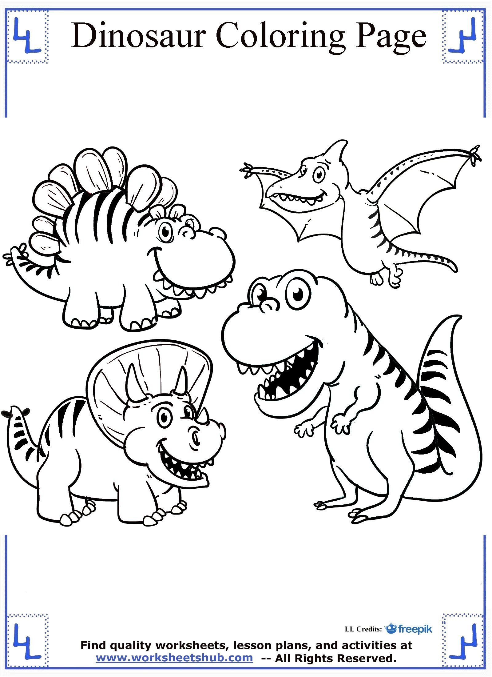 Coloring pages dinosaurs and dragons - Cartoon Dinosaurs Coloring Page
