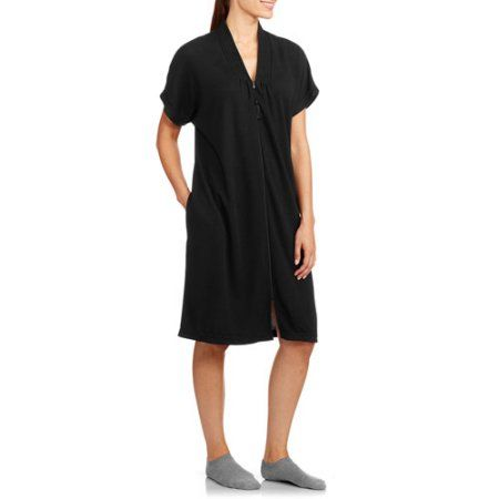 White Stag Women's Short Sleeve Waffle Zip Front Breakfast Robe (Sizes S-3X), Black
