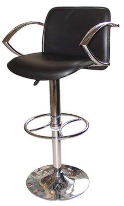 Paris Swivel Bar Stool Black Or Off White Seat And Padded Back Chrome Arm