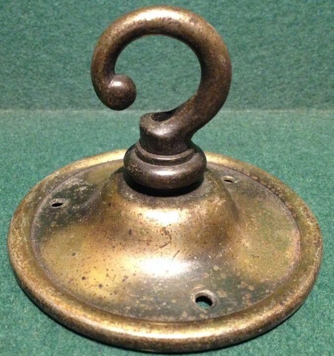 Reclaimed Vintage Brass Light Hook Rose For Ceiling Lamp Chain