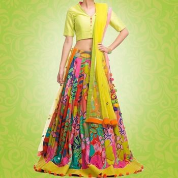 40b6d6b9ad Multicolor printed silk unstitched multicolor lehenga available at Mirraw.