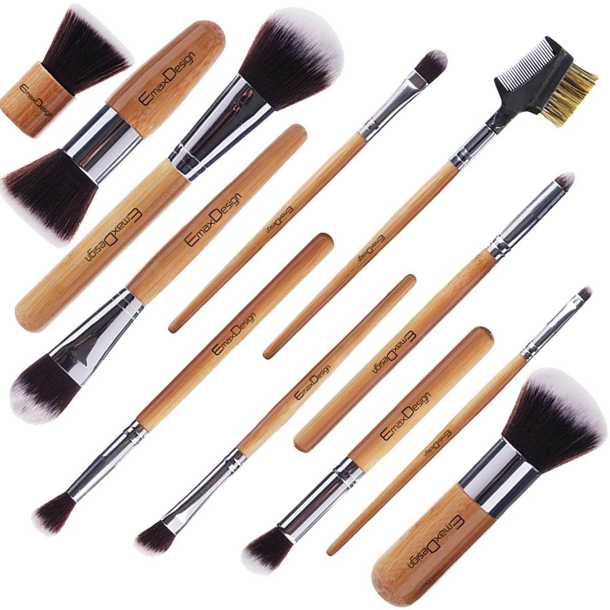 MakeupBrushSetEmaxDesign12pcProfessionalBAMBOO