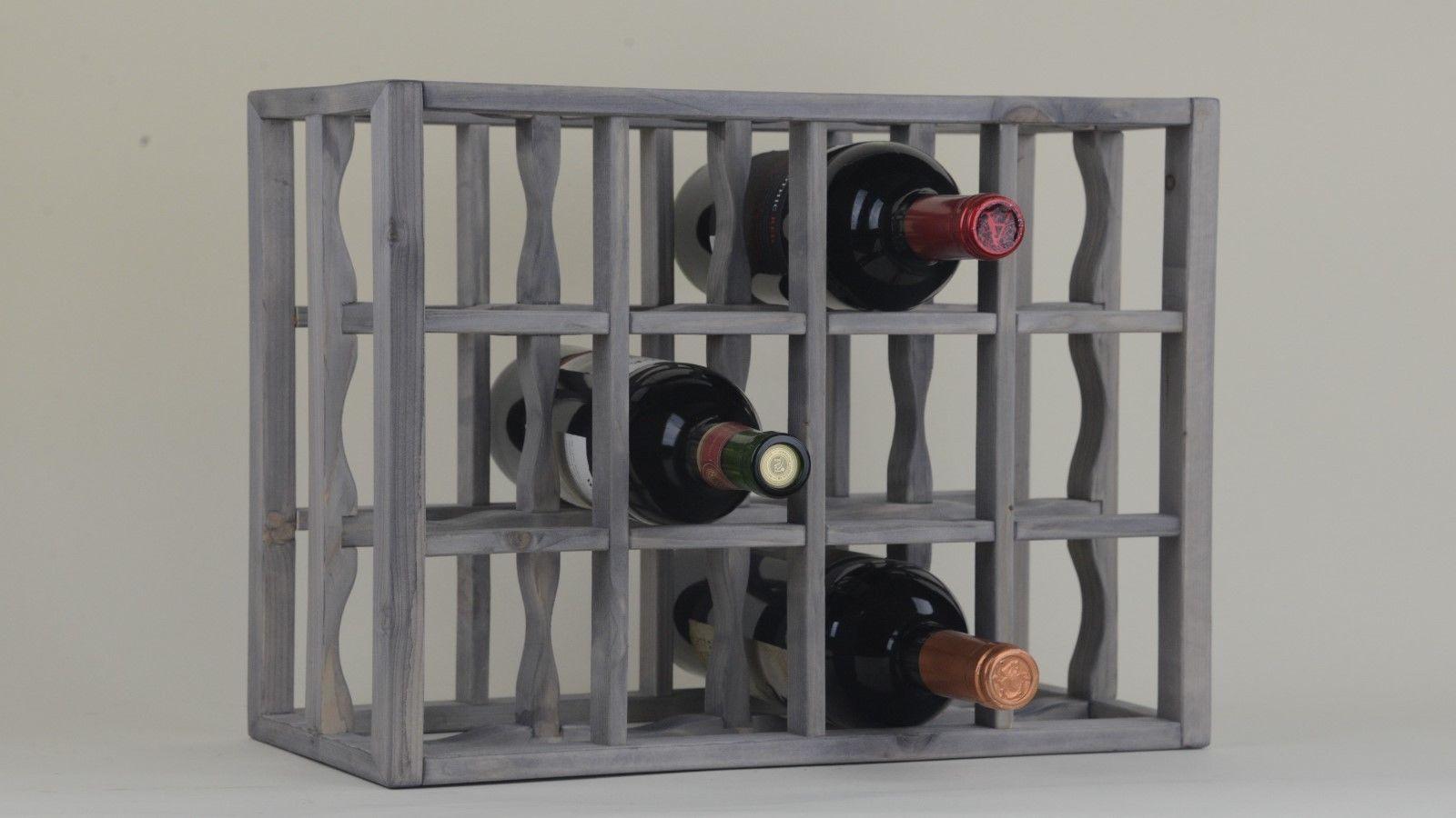 Victoria Wine Rack 12 Bottles Solid Wood Weathered Look Countertop