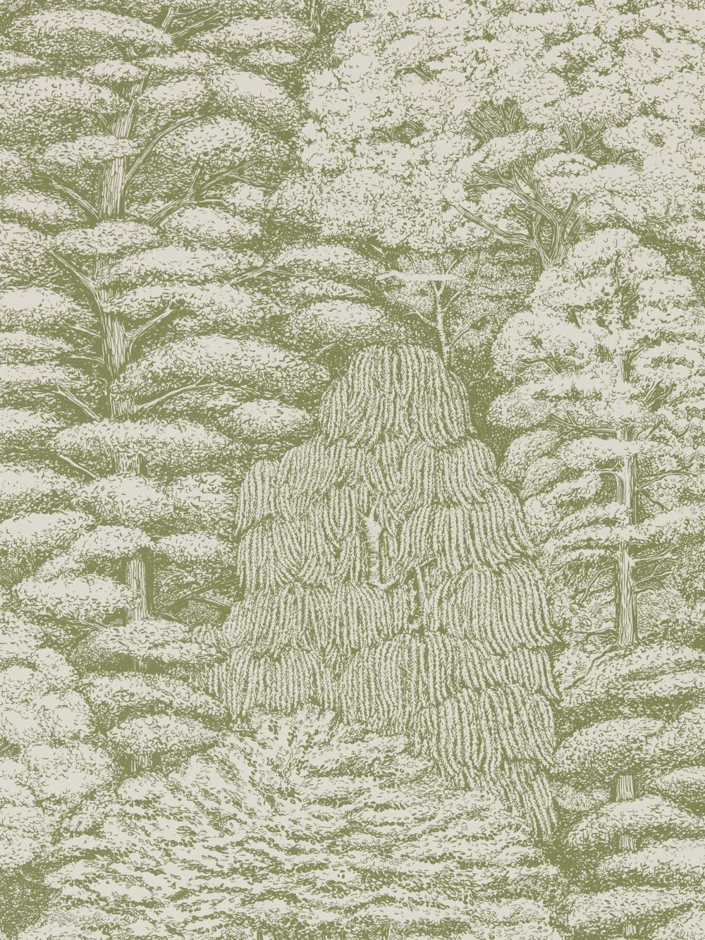Sanderson Woodland Toile Cream And Green Wallpaper Main Image