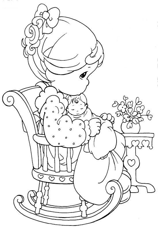 Pinto Dibujos Mamá Precious Moments Para Colorear Día De Las