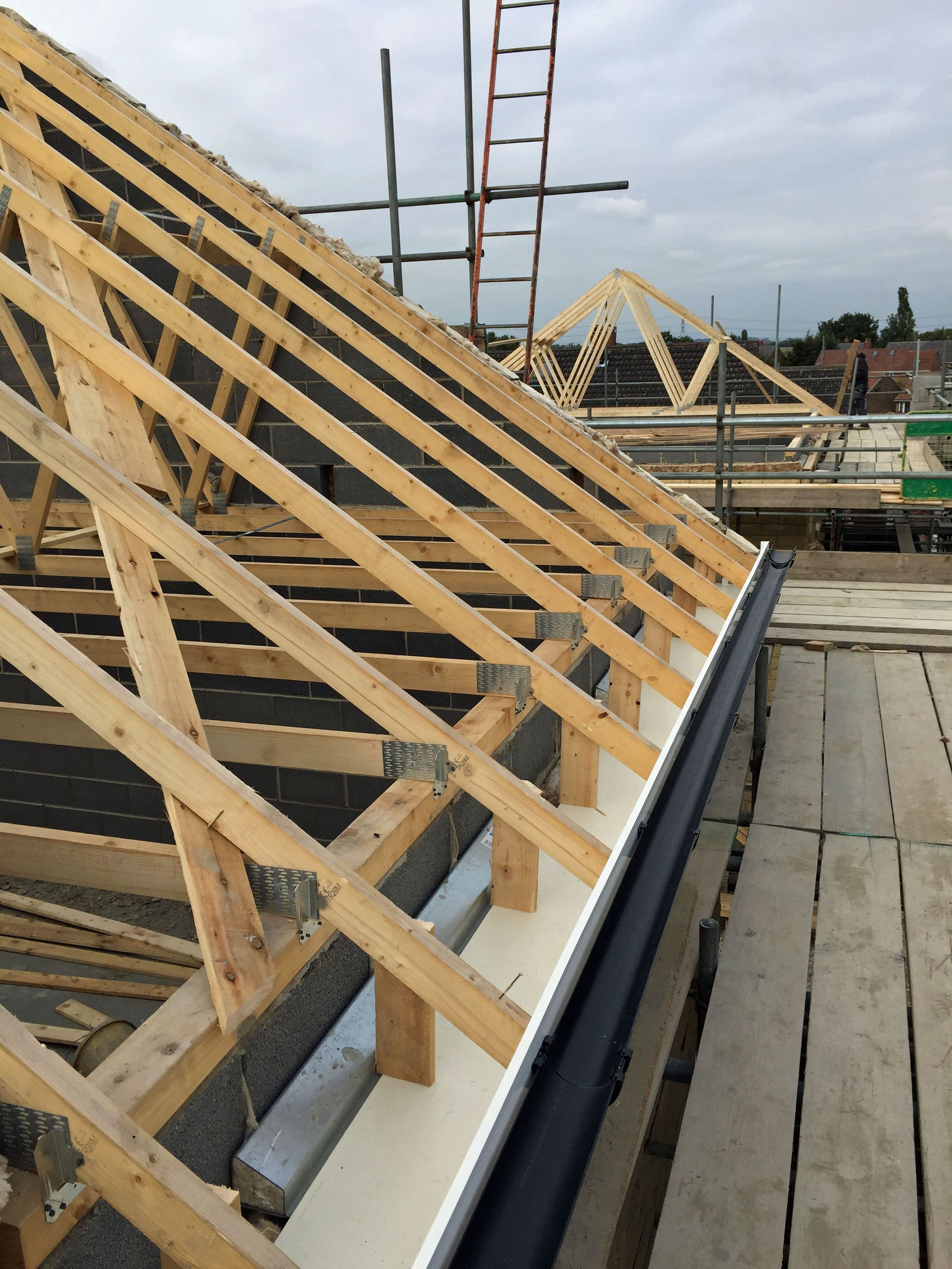 Guttering In Place On Plot 3 And Roof Trusses Being