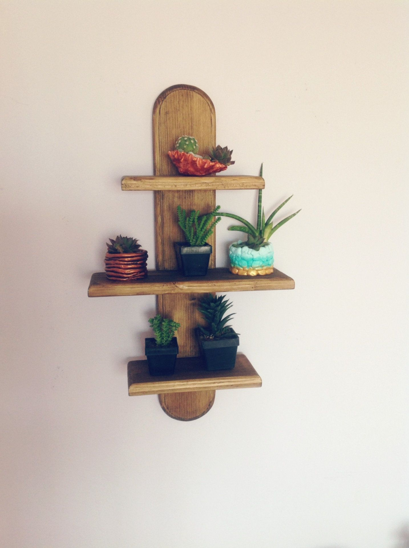 Closeout Sale Wall Mount Indoor Plant Shelf Wooden Floating
