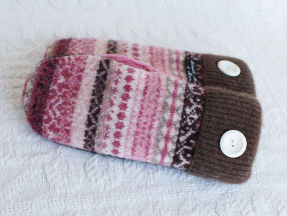 felted wool mittens, sweater mittens, womens mittens, upcycled sweater mittens, pink brown mittens, miracle mittens, wool mittens