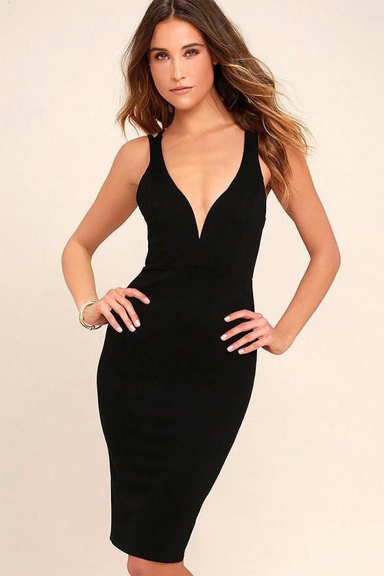 79efe267efd2 Bodycon Dress Plunge V-neck Mini | Products | Black midi dress ...