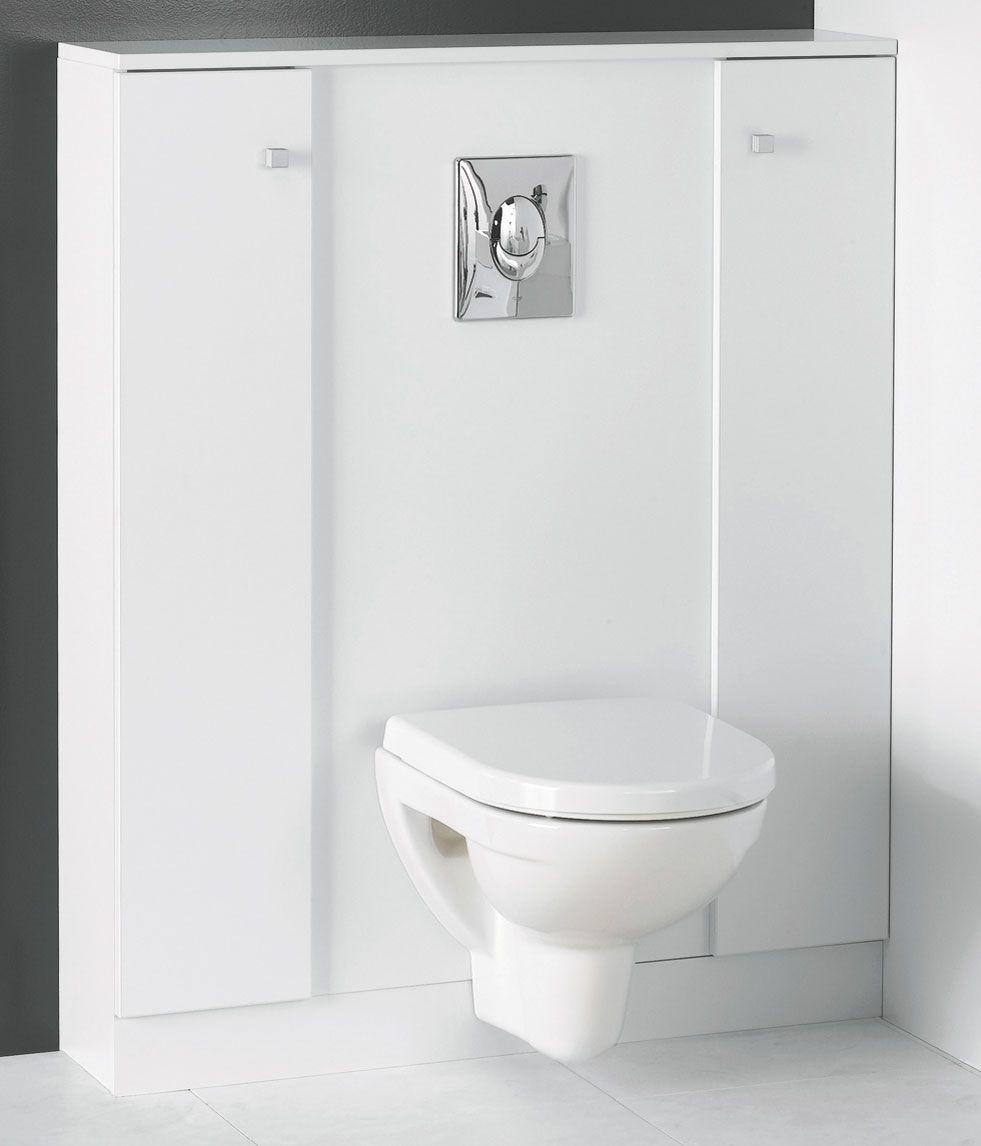 Ce Meuble En Melamine Blanc Avec Amenagement Interieur Est Fabrique Par Bloc Miroir Un Fabricant De Mobilier Habillage Wc Suspendu Habillage Toilette Suspendu