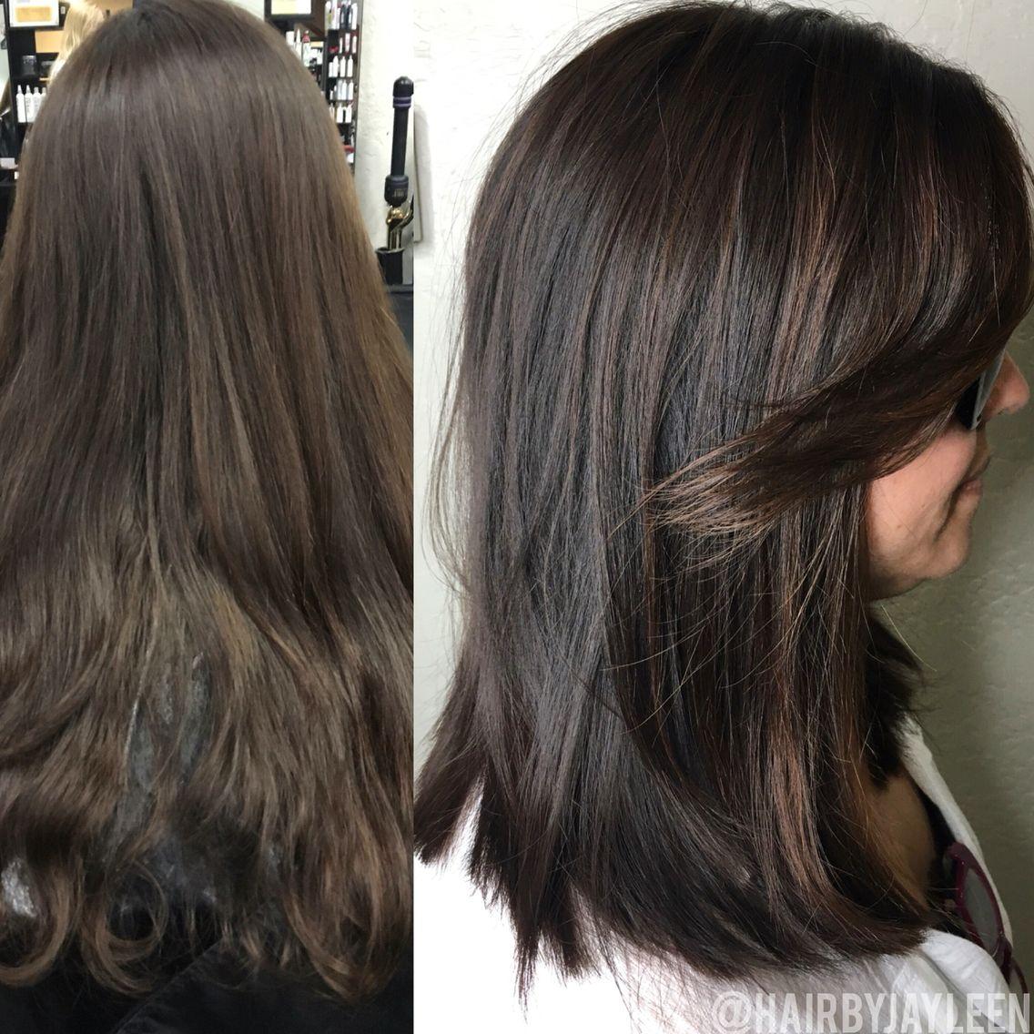 Balayage dark hair, lob haircut, dark brown hair, chocolate brown hair,  before