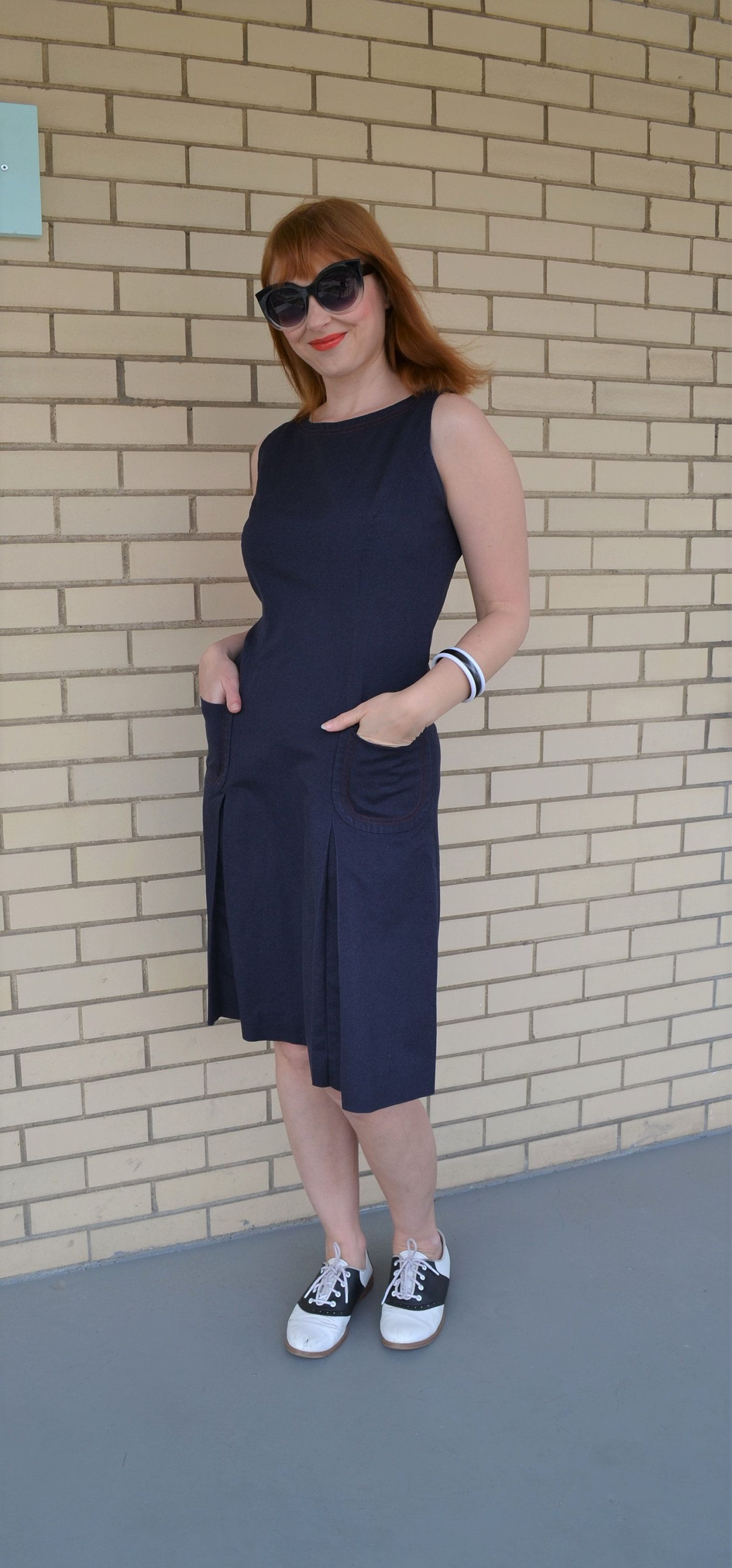 60s navy dress small vintage jumper dress with pockets