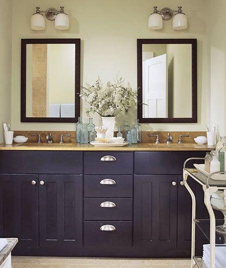 Cool Bathroom Mirror Cabinets: Bathroom Vanity The Black Cabinetry Is Very Cool