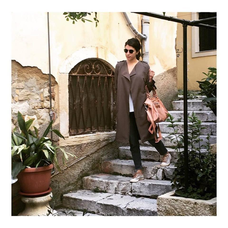 Morning stroll around Corfu island ☀️ wearing a light trench coat
