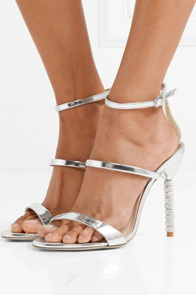 98e499f2c Sophia Webster - Rosalind Crystal-embellished Metallic Leather Sandals -  Silver