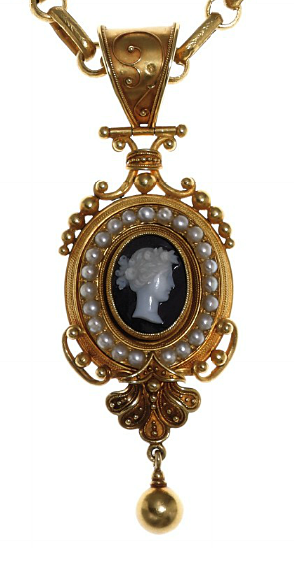 AN ANTIQUE HARDSTONE CAMEO AND GOLD PENDANT NECKLACE   The pendant of gold bead and wirework design, set with a hardstone cameo depicting a female profile, surrounded by cultured half pearls, the reverse with the gold letters 'ROMA', with Vatican assay marks, circa 1870's, suspended from a gold oval link chain, 32½ ins.