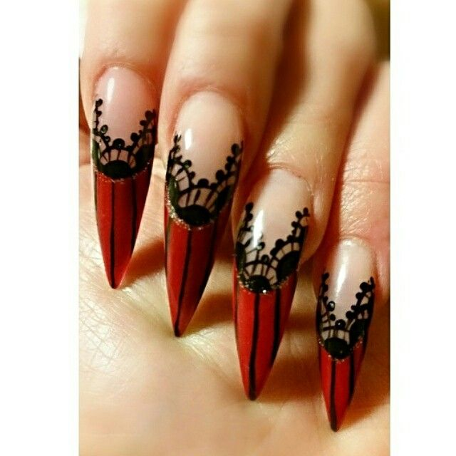 Pin By Gini On French Lace Nail Design Goth Nails Lace Nails