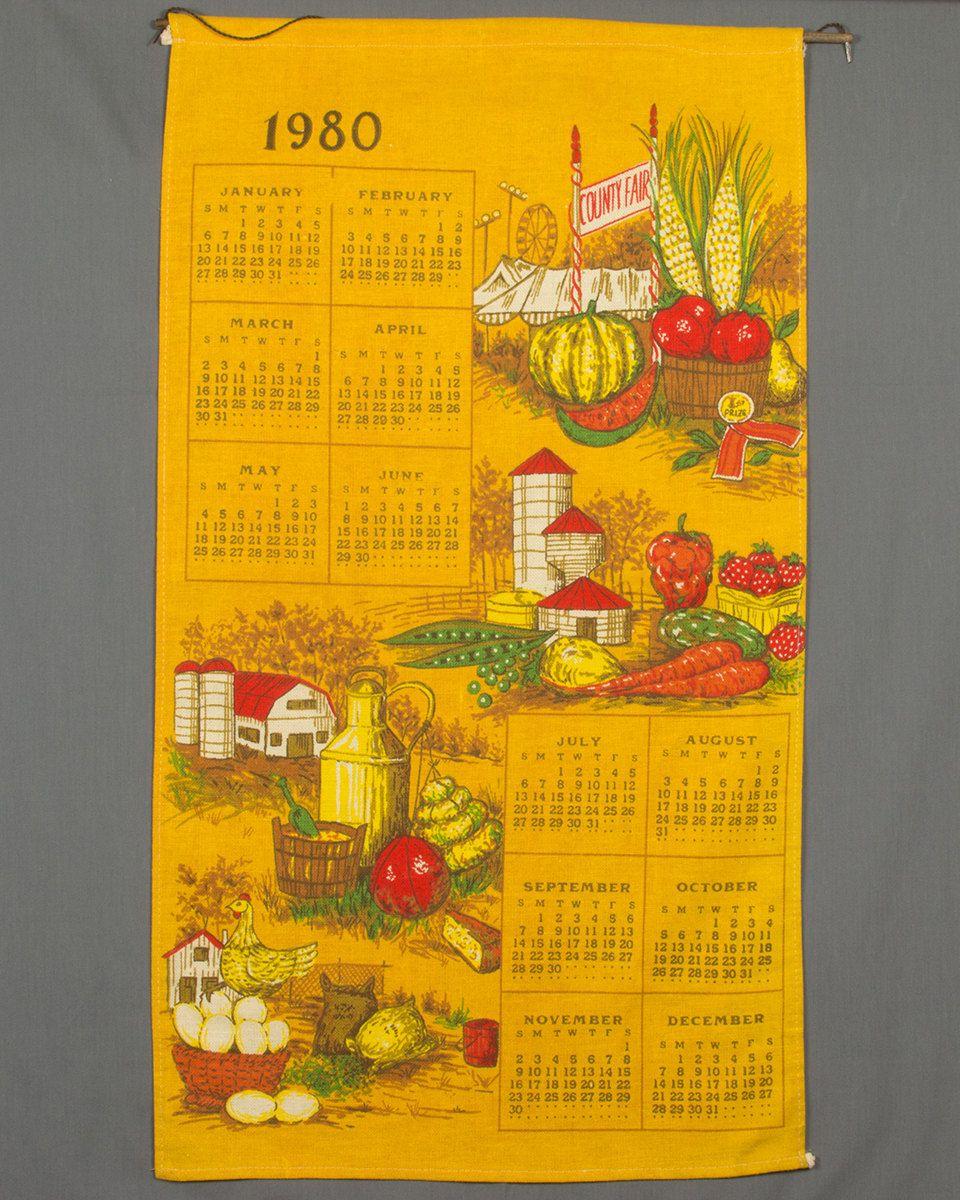 1980 Calendar Fabric Gold Linen Wall Hanging Pillow Shabby Chic