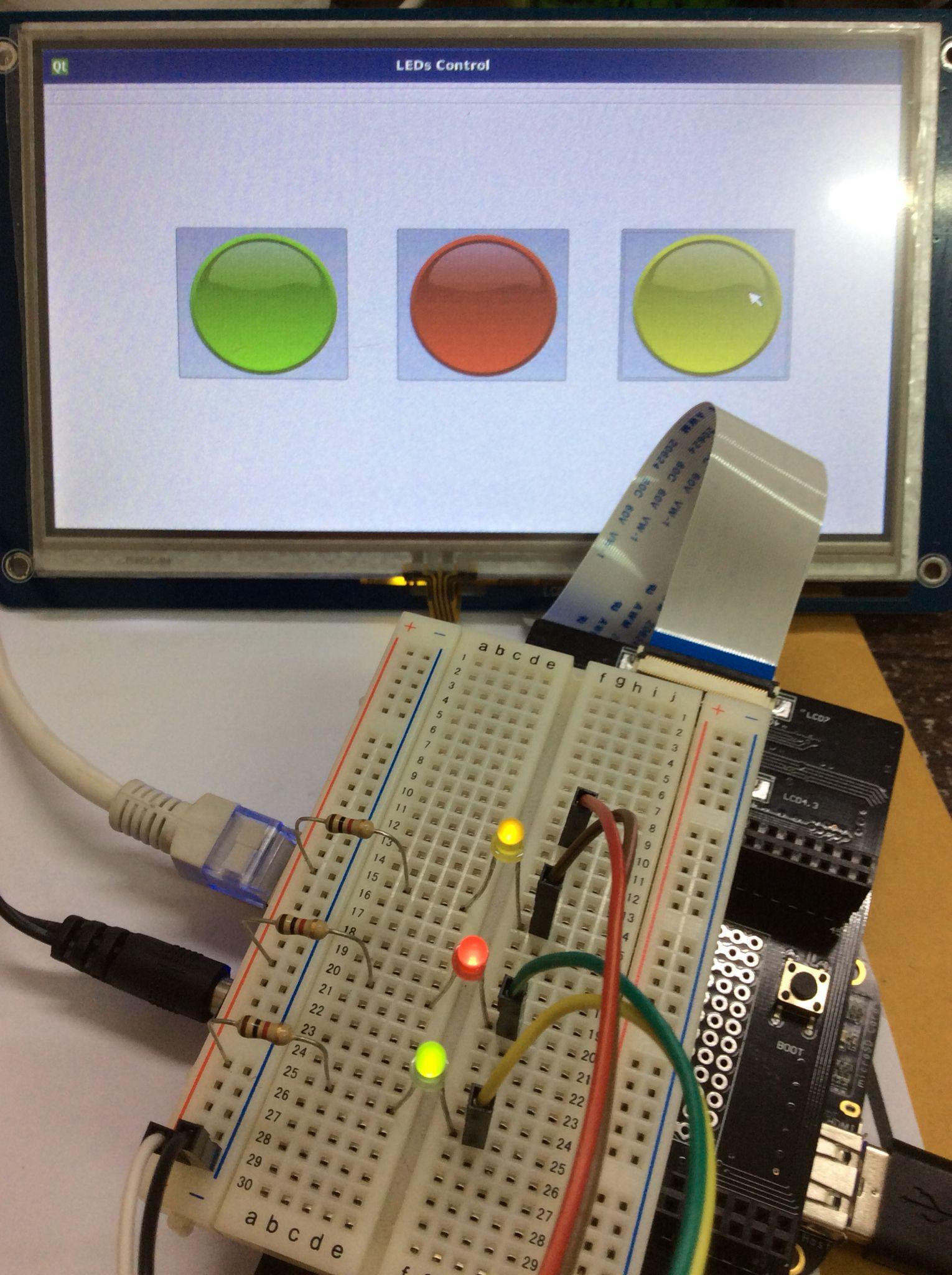 Beaglebone black control external leds using Qt
