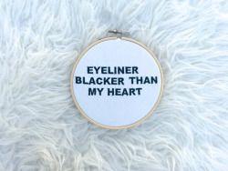 etsy eyebrows eyeliner cross stitch hoop art