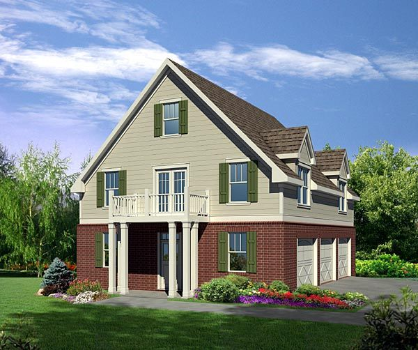 2 Car Garage Apartment Plan Number 94343 With 1 Bed 1: Cottage Style 3 Car Garage Apartment Plan Number 80251