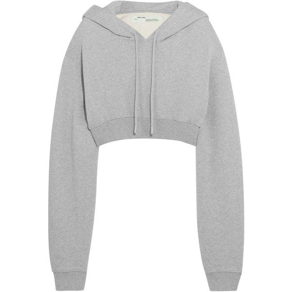 214ff7764f1c Off-White Cropped cotton-jersey hooded sweatshirt ( 560) ❤ liked on  Polyvore featuring tops