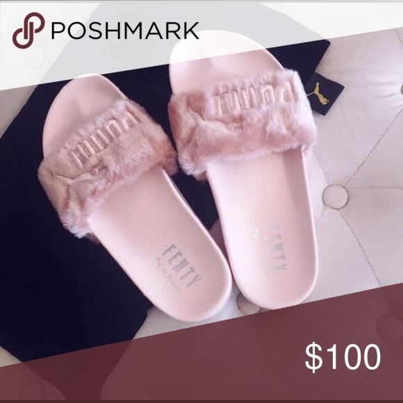 Size 8 Rihanna puma Fenty slides fur leadcat I have these in grey ... d5e5757c1