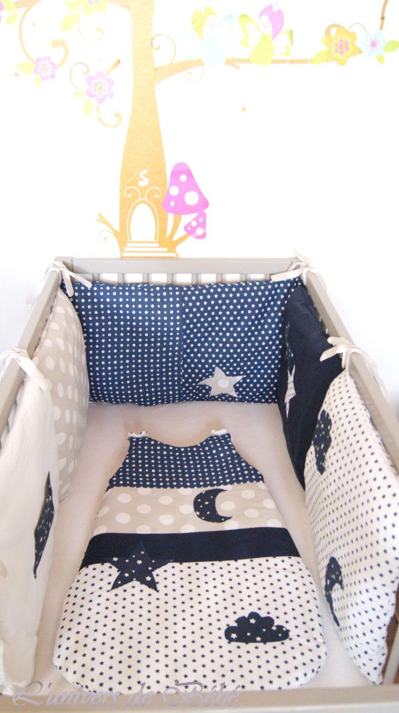 Tour de lit Bebe fille garçon 180 cm|Gris avec des étoiles blanches